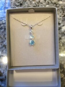 Zales Sterling Silver Blue And White Topaz Three Stone Pendant Necklace