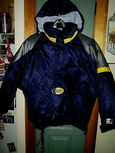 UNIVERSITY OF MICHIGAN COAT PULLOVER 34 ZIP SIZE LG STARTER BRAND INCREDIBLE!
