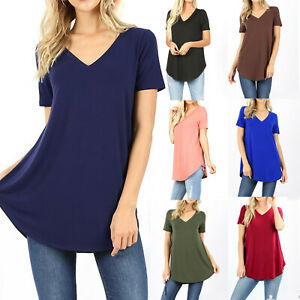Womens Loose Fit Short Sleeve T Shirt V Neck Casual Basic Tunic Top Long Blouse $12.95