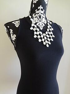 WHITE HOUSE BLACK MARKET White Cabochon Bib Statement Necklace - NWT