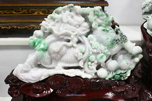 65cm China Emerald jadeite green jade Hand-carved Beast Unicorn statue HABD
