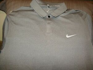 Nike Golf Tiger Woods Collection Dri Fit 689848-021 Gray Polo Shirt Men's Medium