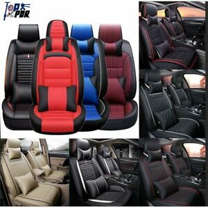 Seat Cover Car Set PU Leather 5 Seats Universal Seat Cushion Front+Rear Full Set