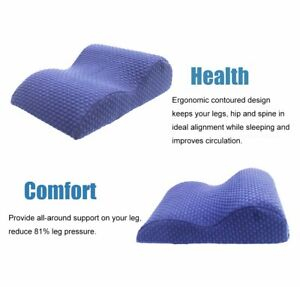 Blue Elevated Leg Rest Pillow Memory Foam Top Knee Pillow with Removerable Cover