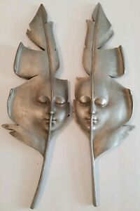 Toscano Silver Leaf Face Wall Sculptures $100.00