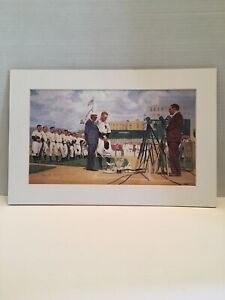 Anne M Cuskley Signed Water Color Matted Print Lou Gehrig 9181000 Luckiest Man