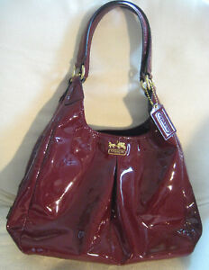 AUTH COACH Red Patent Leather Handbag 21238 Madison Maggie MINT w Dust Bag