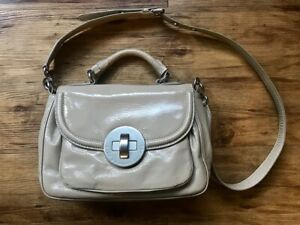 MARC JACOBS Beige Taupe Patent Leather Turn-lock Satchel Top Handle Crossbody