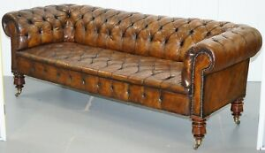 VICTORIAN HORSE HAIR FULLY RESTORED BROWN LEATHER CHESTERFIELD SOFA ROSEWOOD LEG