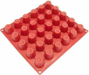 CB-113RD 30-Cavity Mini Silicone Mold For Caneles And Bordelais Fluted Cakes