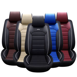 Car Seat Cover Leather 5 Seat Front Rear Back Protector Universal Fit Adjustable