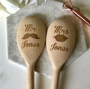 Personalised Mr & Mrs Engraved NAME Wedding Wooden Spoon Gift