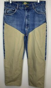 Cabelas Hunting Denim Pants Tan Canvas Overlay 32 x 30