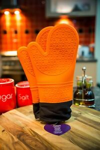 NEW Long Heat Resistant Silicone Gloves for Grilling Cooking Set 2 Orange