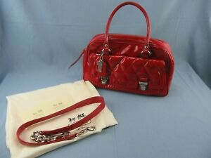 Coach Poppy Red Patent Leather Liquid Gloss Satchel Quilted Storage Bag  Receipt