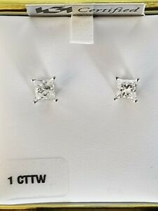 Diamond Stud Earrings Princess Cut 1.13 CTTW. 14K White Gold Mounts screw back
