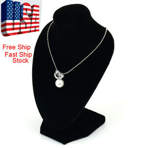 Black Mannequin Necklace Jewelry Display Stand Holder Show Decorate US