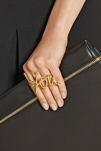 LANVIN GOLD PLATED BRASS TWO-FINGER