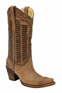Corral Boots Womens Leather Braided Brown Fashion Cowgirl $223.99