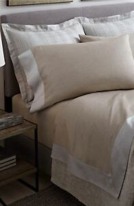 SFERRA LARRO QUEEN FITTED FLAT SHEET NATURAL BEIGE MADE IN ITALY $675
