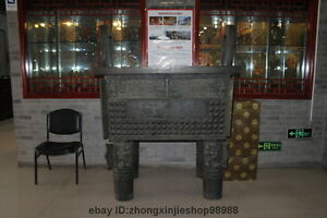 Big China Copper Four-legged Tripod Ding Censer Huge Bronze Tripod statue 68.5