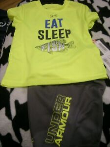 New Toddler Boys Gray & Yellow Under Armour Shirt & Shorts Size 18 Months
