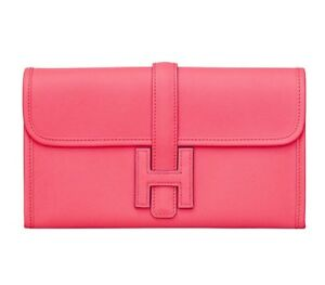 Authentic Cute New HERMES Classic H Rose Azalee Pink Jige Duo Wallet Clutch