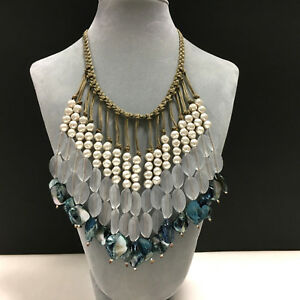 Massive CHICO's Pale Blue & White Pearl Bohemian BIB Statement Necklace JJ147n