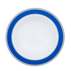 12 oz White Plastic Bowls with Blue and Silver Trim Wedding Disposable Tableware