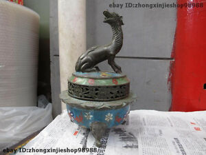 11Tibet Buddhism Bronze Cloisonne Dragon Kylin beast Censer incense burner