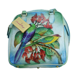 Swank Bags Hand Painted Leather Shoulder Bag - Birds Pattern SB089