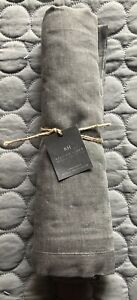 New Restoration Hardware Graphite Gunmetal Dinner Napkins Metallic Belgian Linen