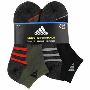 NWT 6 Pair Adidas Men's Performance Climalite Low Cut Socks Cushioned Size 6 -12