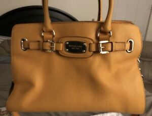 USED MICHAELKORS HAMILTON VINTAGE YELLOW LEATHER MD TOTE HANDSHOULDER BAG PURSE