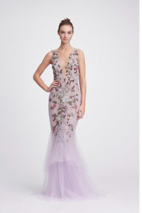 NWT Designer Lilac Plunging V Neck Fit and Flare Gown