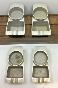 Set of 4 Vintage Brunswick Metal Cup Holder Astray Removable Bowling Pool Table