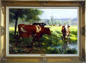 Hand-painted Old Master-Art Antique Animal Oil Painting Cow on canvas 24