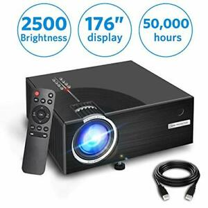 2019 Mini Projector Full HD 1080P and 176'' Display Supported 2500 Lux