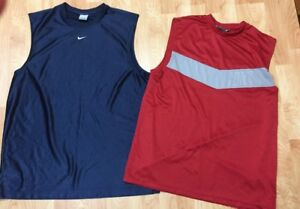Lot Of 2 Men's L Nike Sleeveless Tank Top Athletic Running Shirts Red amp; Blue $22.99