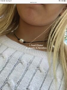 Pearl Choker wGift Bag Single Freshwater Pearl and Leather Choker Necklace