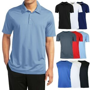 Men's Short Sleeve Moisture Wicking Polo Shirts Performance Active Workout Gym