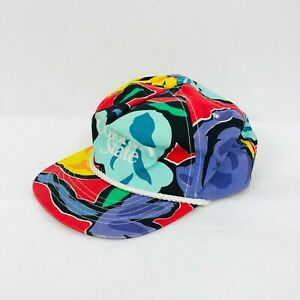 VTG 80s90s Colorado State Snapback Hat Floral Colorful Tropical Rope