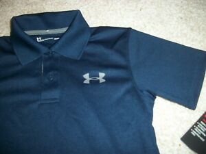 UNDER ARMOUR New NWT Boys Youth Kids Toddler Polo Shirt Navy Blue Solid 5 6 7