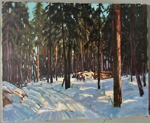 Robert Shaw WESSON winter forest with oxen ~  Logging in Vermont ~ oil canvas