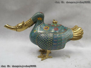 Royal Mark 100% Pure bronze Cloisonne 24K Gold Duck incense burner censer