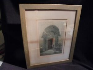 Lithograph Kilpeck Portal Color1894 Good Color Fletcher-Watson Frame Old Glass