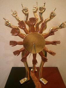 MEXICAN PEDRO FRIEDEBERG ESPECTACULAR THREE LEGGED CLOCK SCULPTURE