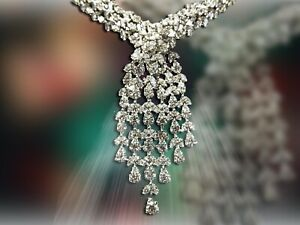 DIAMOND PEAR MARQUISE SHAPE NECKLACE 20 INCH LENGTH INCLUDING DROP 16 INCH NECK