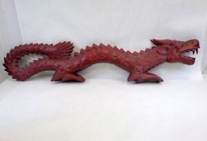 Unique Chinese Dragon Carved Wood -Huge 40