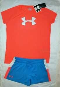 ~GIRL'S UNDER ARMOUR SHORTS & TOP YOUTH X-LARGE 18-20 LOOSEDRI-FIT NEW wt TAGS